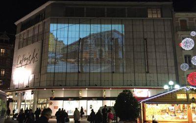 Production d'une vidéo pour une projection sur la façade d'un bâtiment pour Labelville à Grenoble