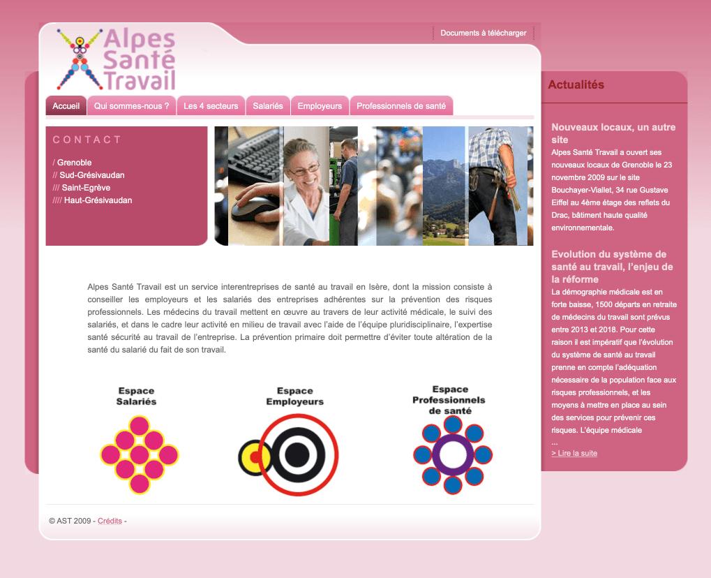 Alpes santé travail, création du site Internet en 2008