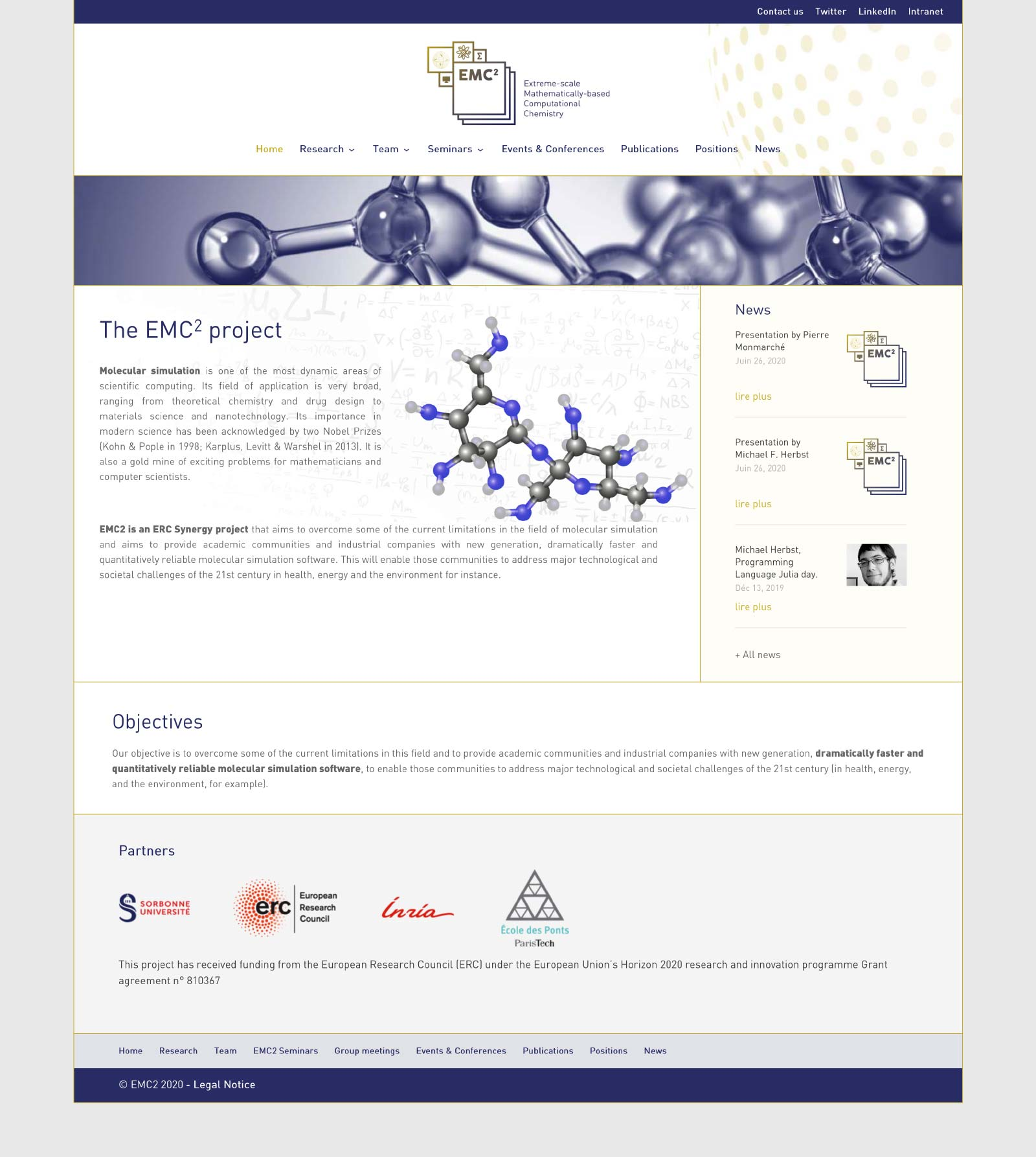 Webdesign du site erc-emc2 avec WordPress et le thème DIVI