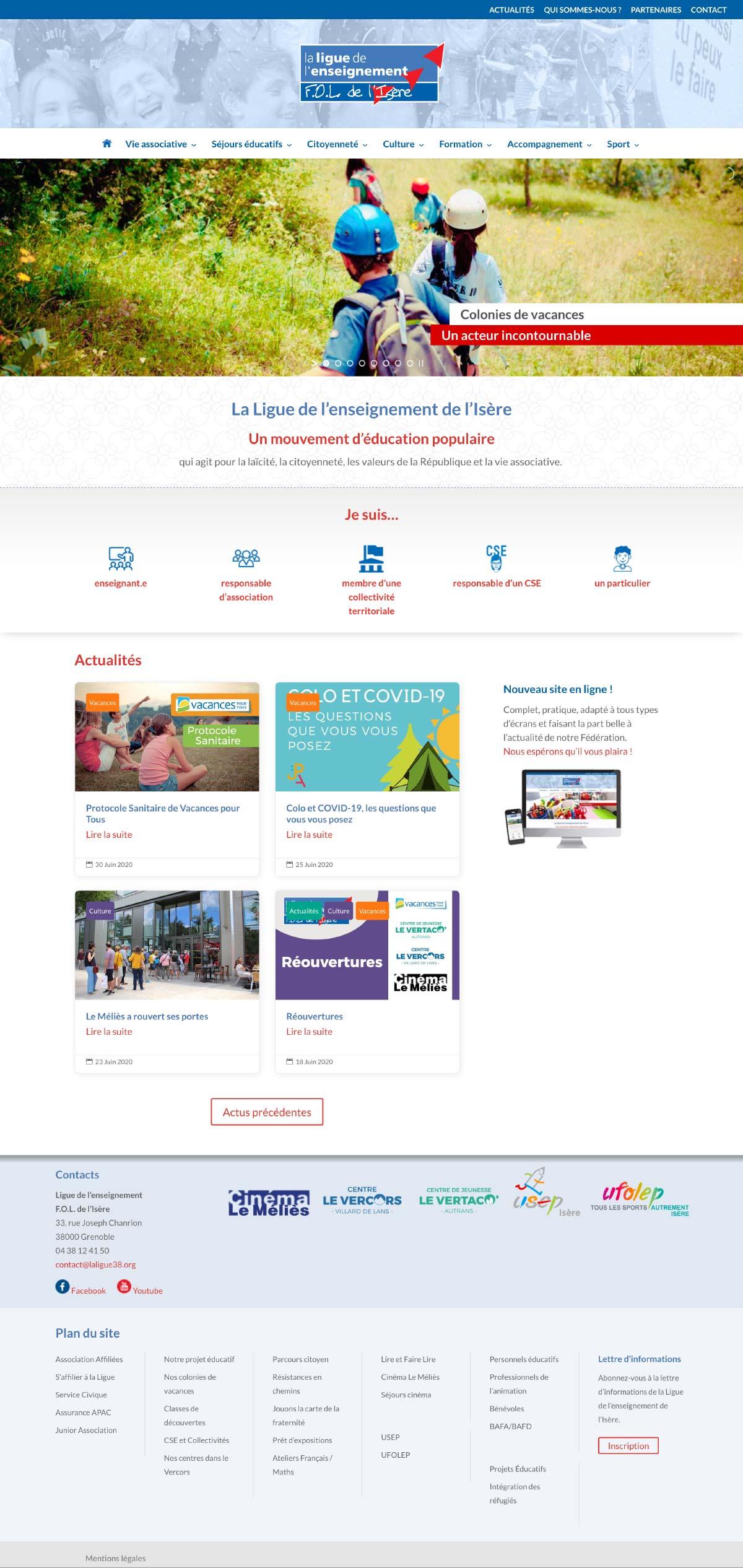 La page d'accueil du site Internet de La ligue de l'enseignement de l'Isère conçu avec WordPress et le thème DIVI