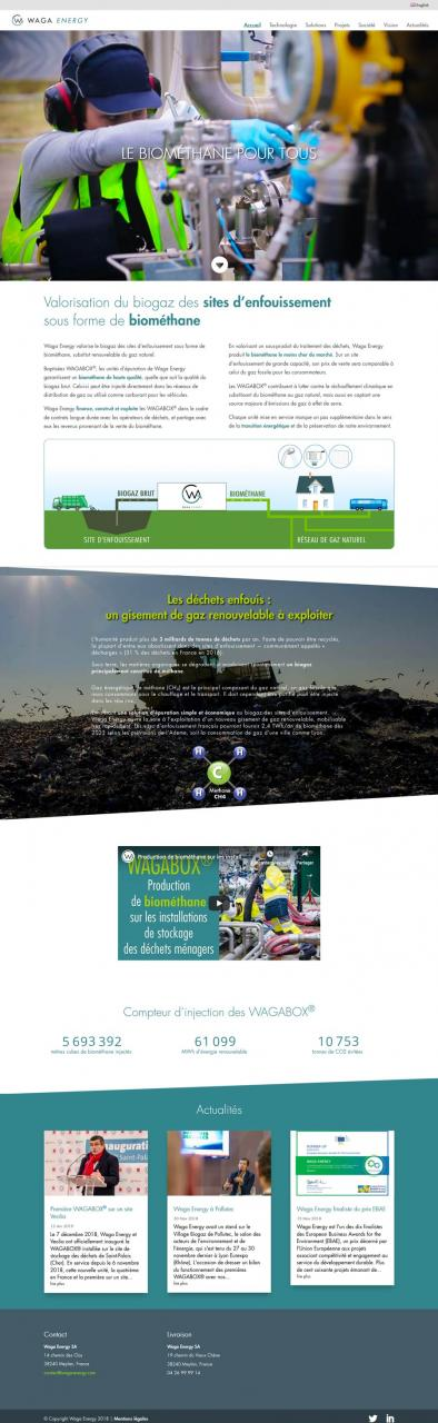 Waga Energy Homepage du site Internet