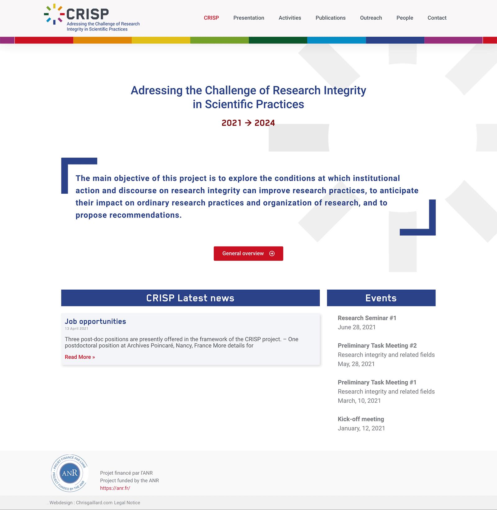 page d'accueil du Site web CRISP